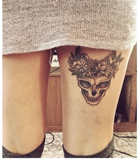 flower crown tattoo skull flowers thigh and crown tattoos on