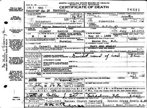 Gilbert Public Records by Holland Deaths Gilbert Marion Holland