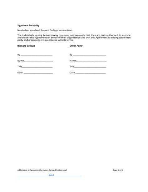 t m contract template contract addendum template barnard college free