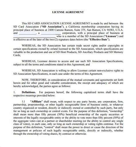 license agreement template licensing agreement 7 free sles exles format