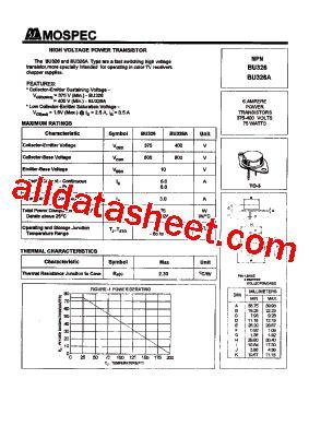 326 transistor datasheet bu326a datasheet pdf mospec semiconductor