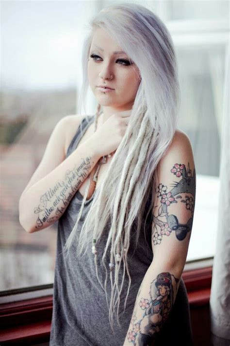 tattooed blonde 17 best ideas about white dreads on dread bun