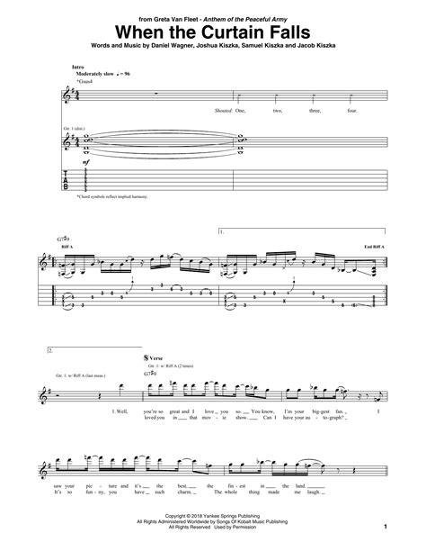 greta van fleet guitar tabs when the curtain falls by greta van fleet guitar tab
