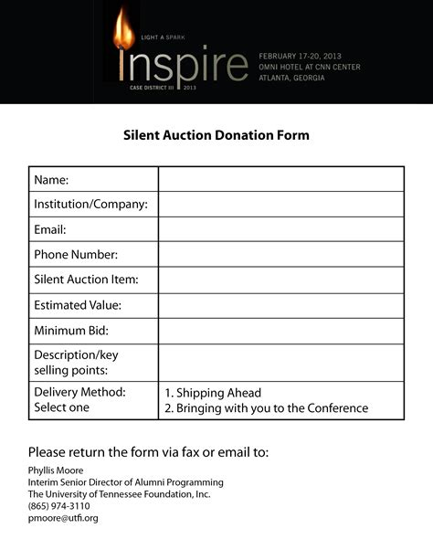 silent auction donation form template search results for silent auctions templates word