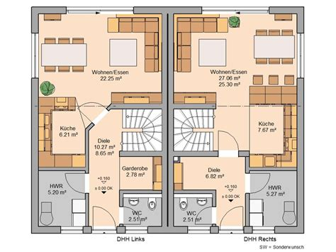Grundriss Doppelhaus Ebenerdig by Doppelhaus Grundriss Beispiele Grundriss Doppelhaus
