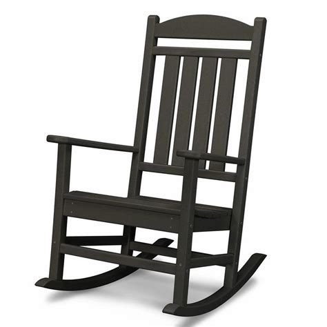 small outdoor rocking chairs shop polywood black recycled plastic slat seat outdoor