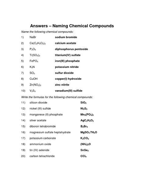 Naming Compounds Worksheet Answers by 16 Best Images Of Nomenclature Worksheet 2 Answer Key