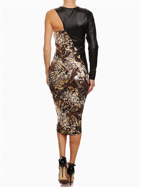 Shoulder Sheath Dress one shoulder metallic abstract print sheath dress