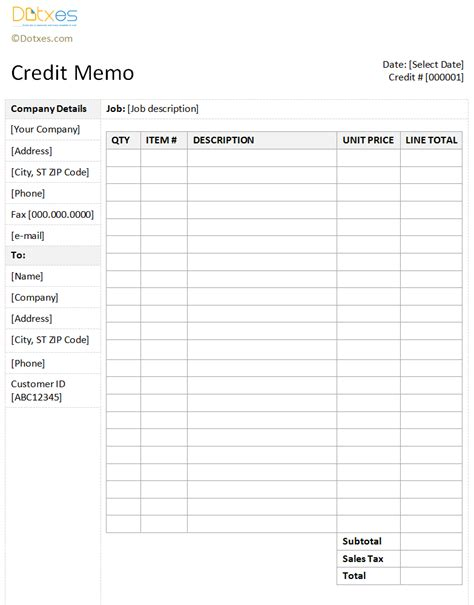 Credit Note Form Template Credit Memo Template With A Sidebar Design Memo Templates Dotxes Design And