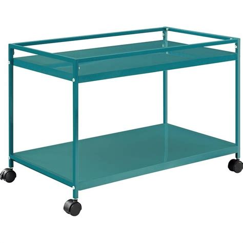 Table Carts by Altra Furniture Marshall 2 Shelf Rolling Coffee Table Teal