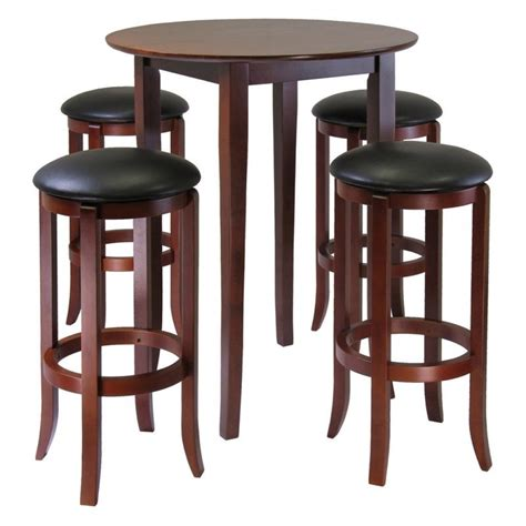 amazon com winsome fiona 5 piece round high pub table set in antique walnut finish kitchen winsome fiona 5 piece round pub high table set dining