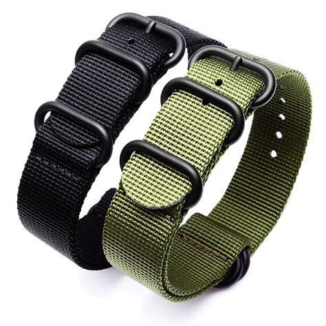 Tali Jam Tangan Nato Black Hitam 18mm Brc sport watchband black army green zulu nato for seiko
