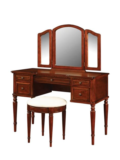 Cherry Vanity Stool by Powell Warm Cherry Vanity With Mirror And Stool The