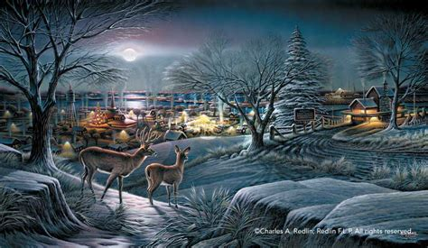 Sam Moon Home Decor terry redlin hometown print deer and town in holiday
