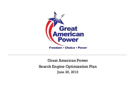 The Greatest American Powers Great American Power Seo Plan 062013