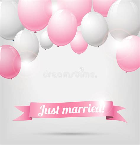 wedding banner illustration wedding banner with pink and white balloons stock vector