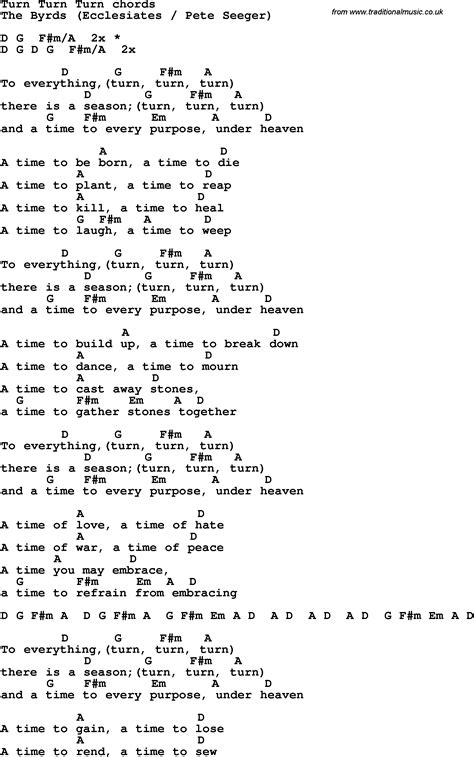 song lyrics with guitar chords for turn turn turn