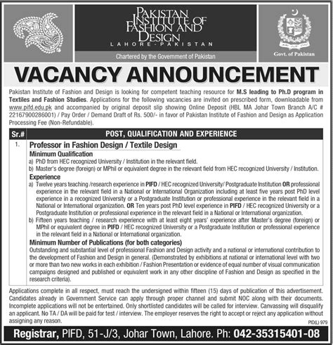 fashion design lecturer jobs jobs in pakistan institute of fashion and design lahore