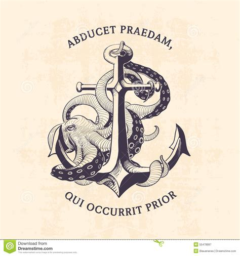 anchor with octopus stock vector image 55478997