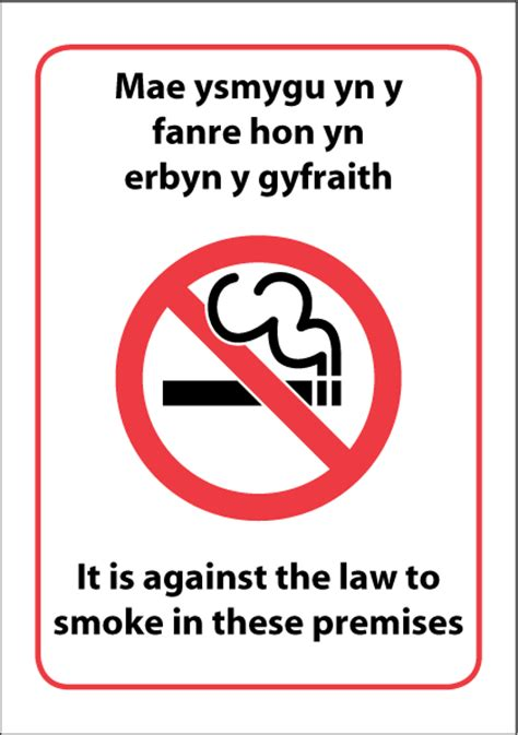 No Smoking Signs Wales | it is against the law to smoke in these premises for