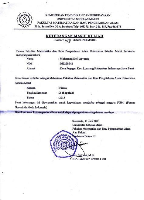 surat keterangan kuliah forum geosaintis muda indonesia