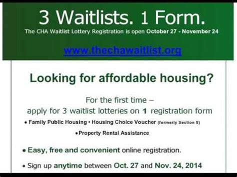 cha section 8 waiting list cha 2014 waitlist registration process sign up starting