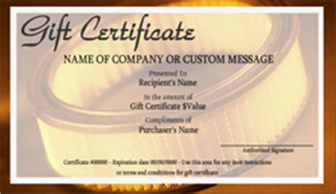 automotive gift certificate template automotive gift certificate templates easy to use gift
