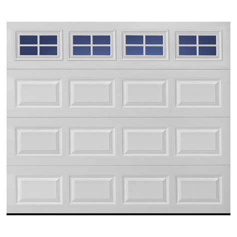 shop pella traditional series 9 ft x 7 ft white garage door with windows at lowes
