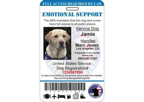 Emotional Support Service Dog Id Card Ada Tag Badge Professional Custom Design 13b Emotional Support Animal Id Card Template
