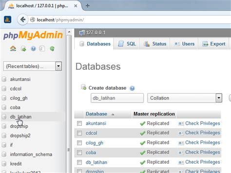 membuat database menggunakan phpmyadmin membuat database dan table mysql menggunakan phpmyadmin