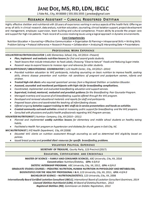 Dietitian Resume by Clinical Dietitian Resume Exle Resume Exles And