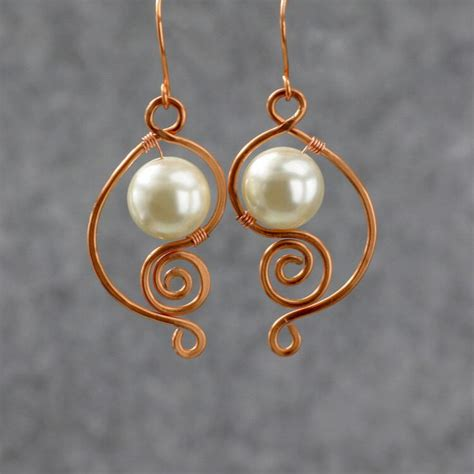 Handmade Copper Jewelry Designs - copper wiring pearl dangle earrings bridesmaids gifts free