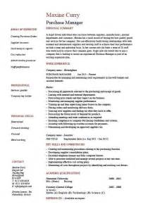 Resume Sle Procurement Manager Resume Format For Purchase Executive 28 Images Procurement Manager Cv Template Description