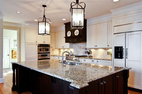 Hanging Kitchen Cabinets From Ceiling by Brown And Cream Kitchen Traditional Kitchen Atlanta