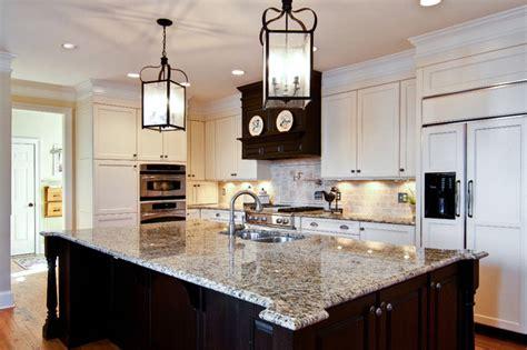 Santa Cecilia Granite Backsplash Ideas - brown and cream kitchen traditional kitchen atlanta by keri morel designs