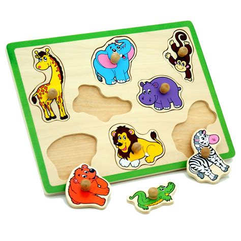 Childrens Pull Out by Wooden Zoo Animals Childrens Chunky Jigsaw 1st Peg Pull