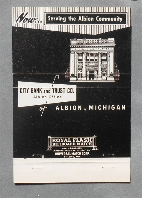 city bank and trust 1950s billboard matchbook city bank and trust co albion