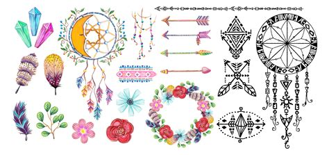 design elements style free download watercolor bohemian elements and