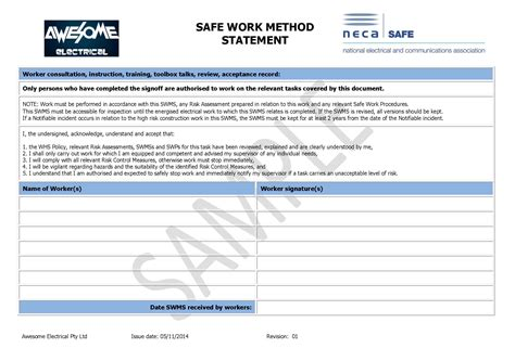 safe work method statements templates fax transmittal template