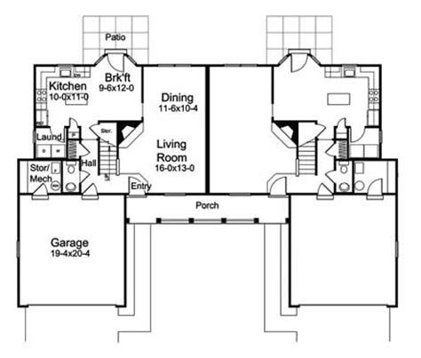 symmetrical floor plans duplex living house plans and more