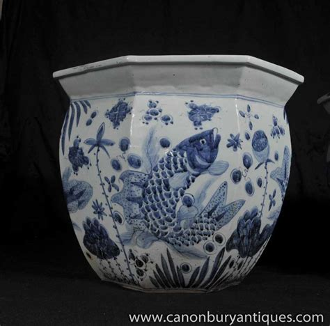 Blue And White Pottery Planters by Pair Nanking Pottery Planters Bowls Blue White