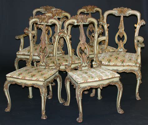 Venetian Furniture by Set Of Twelve Venetian Painted And Parcel Gilded Back Dining Chairs For Sale
