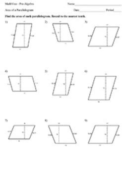 free printable area of parallelogram worksheets area of a parallelogram worksheets by mathvine tpt