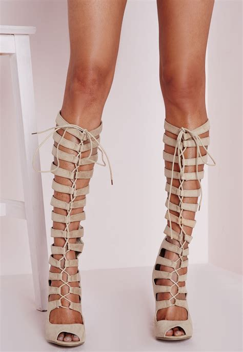 Gladiator Sandals Knee High Heels   Mad Heel