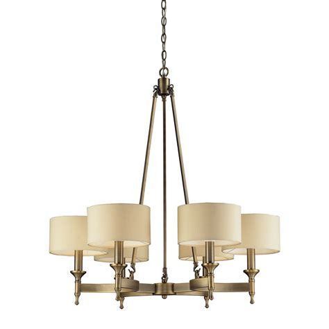 Metal Chandelier Shades 6 Light Chandelier In Antique Brass By Elk Lighting