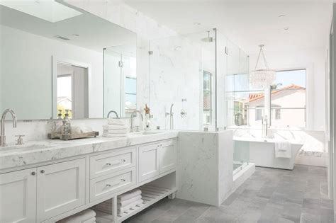 white and gray bathrooms white master bathroom with gray tiled floors