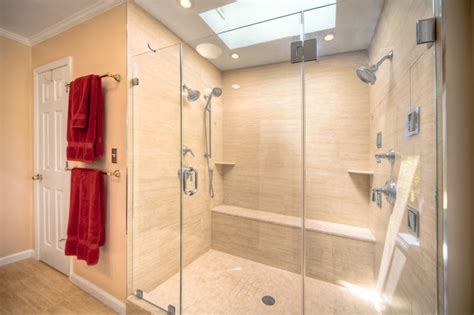 Contemporary Bathroom with Double Shower in Reston