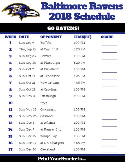 printable ravens schedule printable baltimore ravens schedule 2018 season