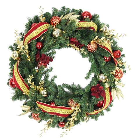 30 in battery operated plaza artificial wreath with 50