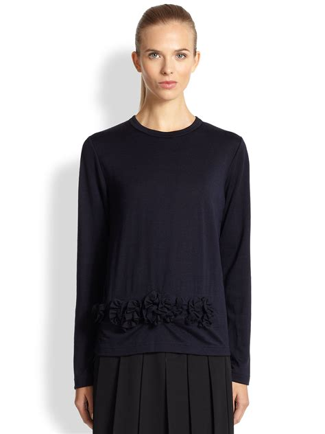 Sweater Comme Des Garcons Abu Brothersapparel comme des gar 231 ons flower applique wool sweater in blue lyst